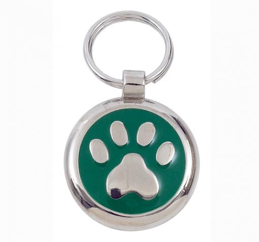 Luxury Smarties Green Paw Print Designer Cat ID Tag