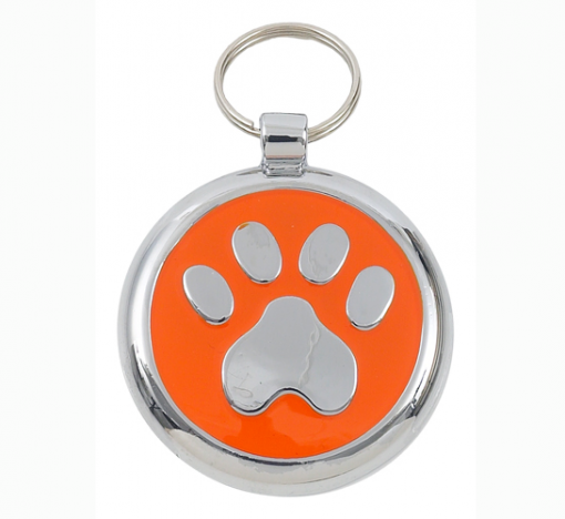 Luxury Smarties Orange Paw Print Designer Cat ID Tag
