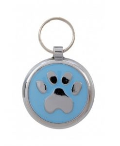 Luxury Smarties Pale Blue Paw Print Designer Cat ID Tag