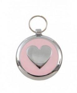 Luxury Smarties Pale Pink Heart Designer Cat ID Tag