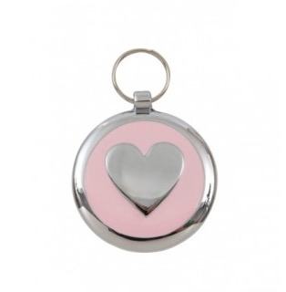 Luxury Smarties Pale Pink Heart Designer Cat ID Tag