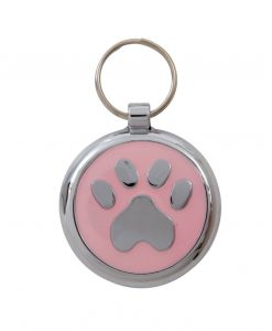 Luxury Smarties Pale Pink Paw Print Designer Cat ID Tag