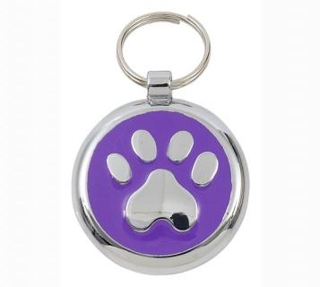Luxury Smarties Purple Paw Print Designer Cat ID Tag