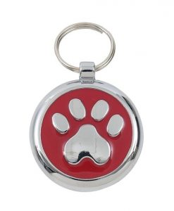 Luxury Smarties Red Paw Print Designer Cat ID Tag