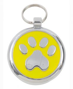 Luxury Smarties Yellow Paw Print Designer Cat ID Tag