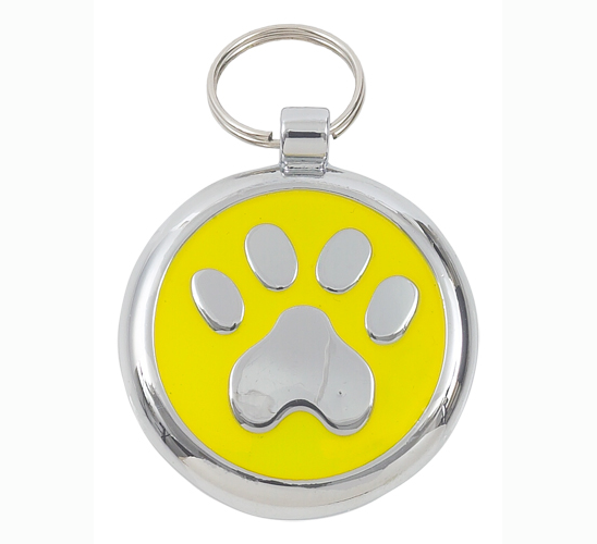 Luxury Smarties Yellow Paw Print Designer Cat ID Tag