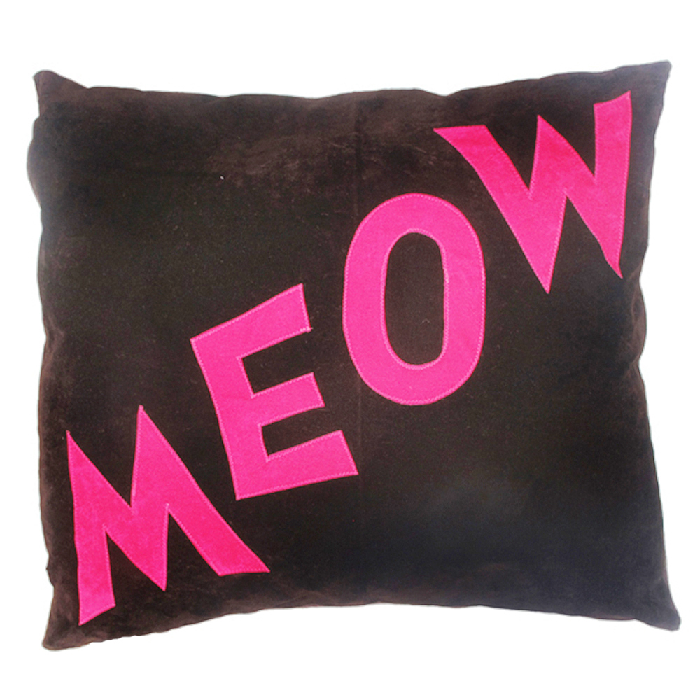 Meow Cat Nappa Pink on Chocolate by Creature Clothes