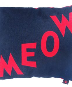 Meow Cat Nappa Red on Denim by Creature Clothes