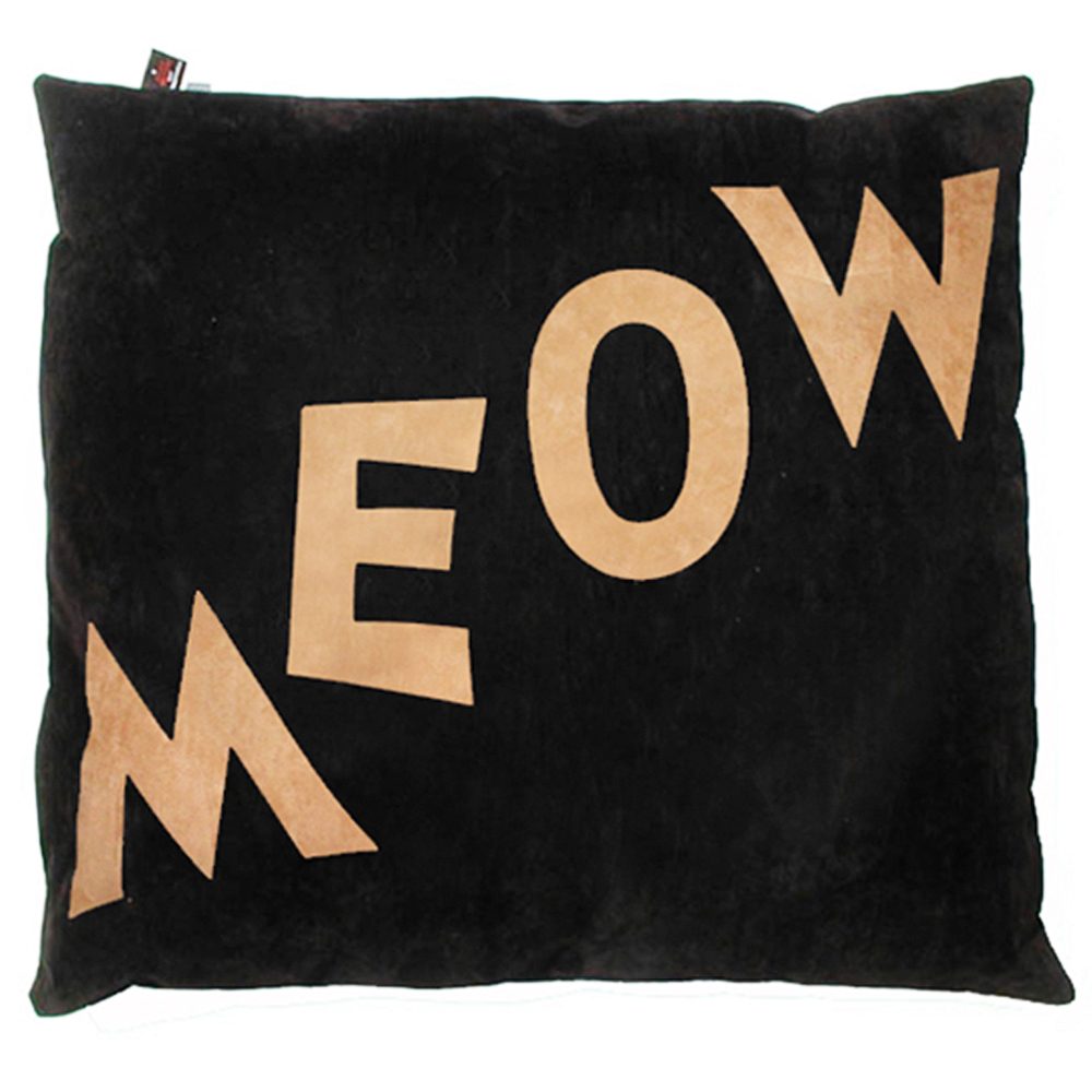Meow Cat Nappa Tan on Black by Creature Clothes