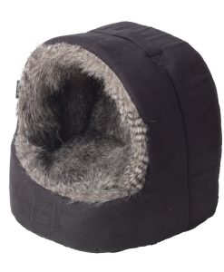 Arctic Grey Faux Fur and Suede Hooded Cat Bed by House of Paws