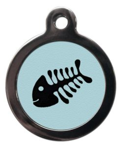 Blue Fish Bone Cat ID Tag
