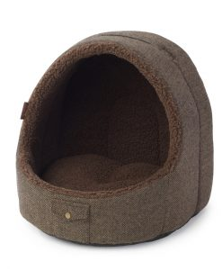 Brown Tweed Hooded Cat Bed House of Paws