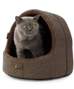 Brown Tweed Hooded Cat Bed by House of Paws