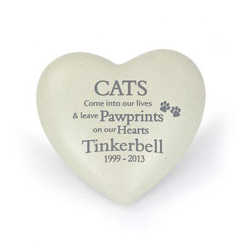 Cat Pawprints Heart Memorial