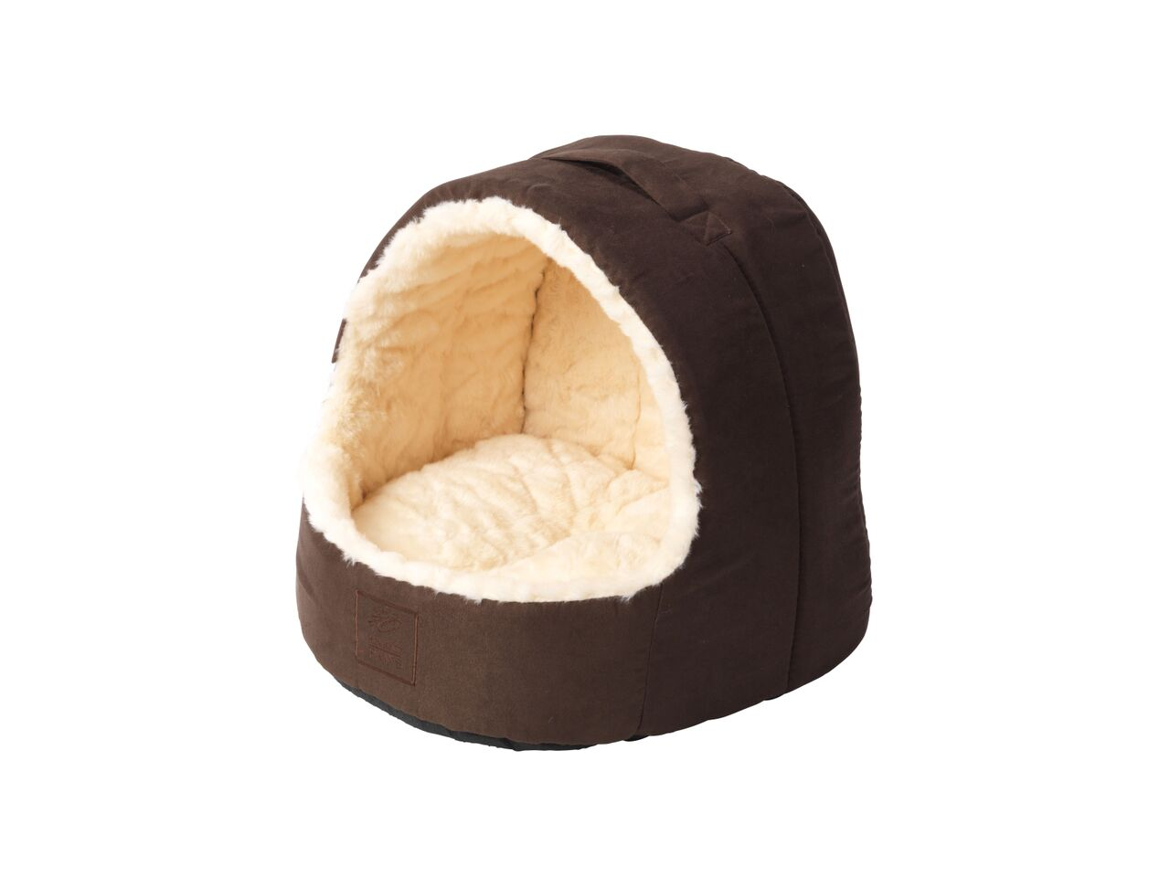 Cream Faux Fur and Suede Hooded Cat Bed by House of Paws