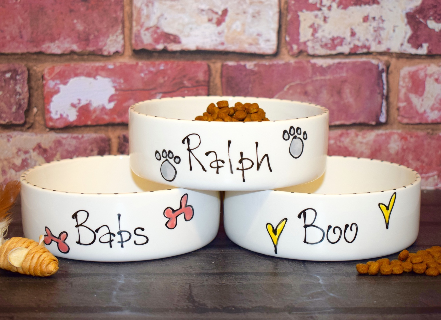 Whimsical personalised cat bowls