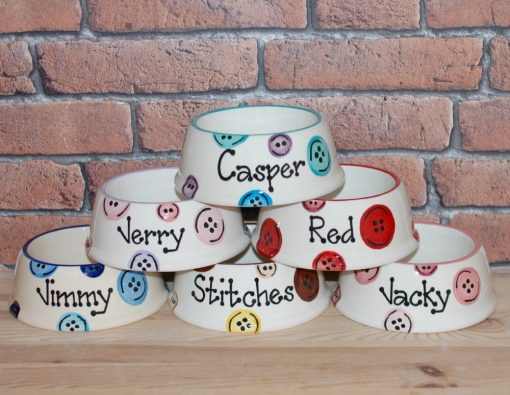 Personalised Ceramic Slanted Buttons Cat Bowls