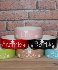 Personalised Cat Bowls Hearts, Stars and dots at Chelsea Cats