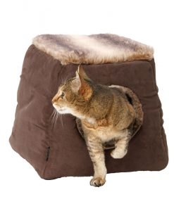 Faux Suede and Arctic Fox Fur 2 in 1 Cat Bed by House of Paws