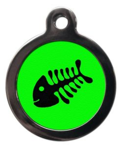 Green Fish Bone Personalised Cat Id Tag
