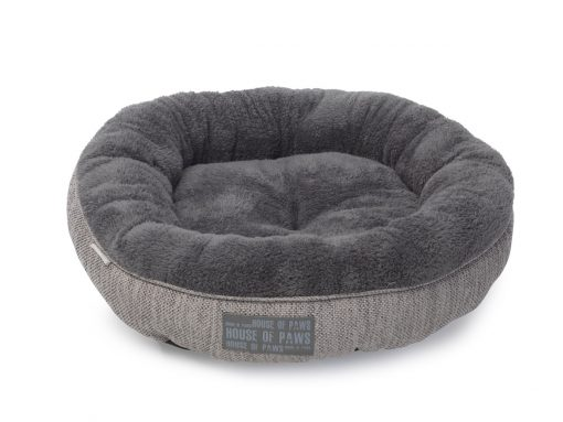 Grey Hessian Donut Cat Bed by House of Paws