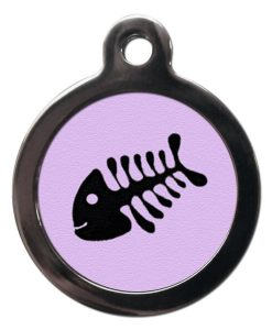 Lilac Fish Bone Cat ID Tag