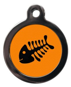 Orange Fish Bone Personalised Cat Id Tag