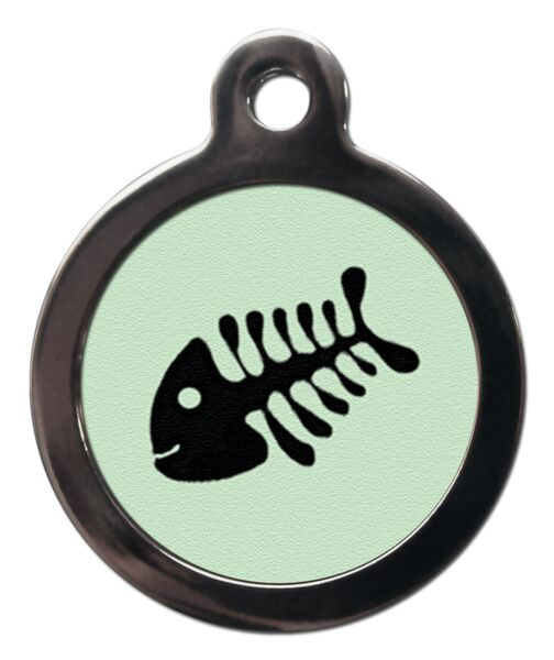 Pale Green Fish Bone Cat ID Tag