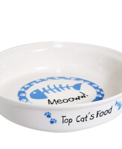 Personalised Blue Fish Bone Cat Bowl