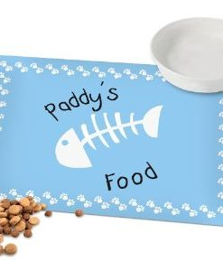 Personalised Blue Fish Bone Cat Placemat