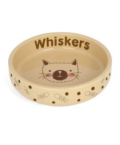 Personalised Cat Stitch Small Brown Cat Bowl