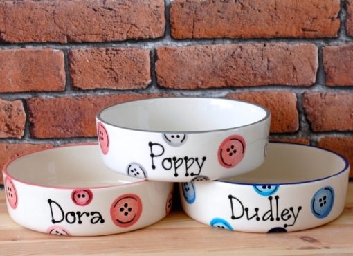 Personalised Ceramic Buttons Cat Bowls