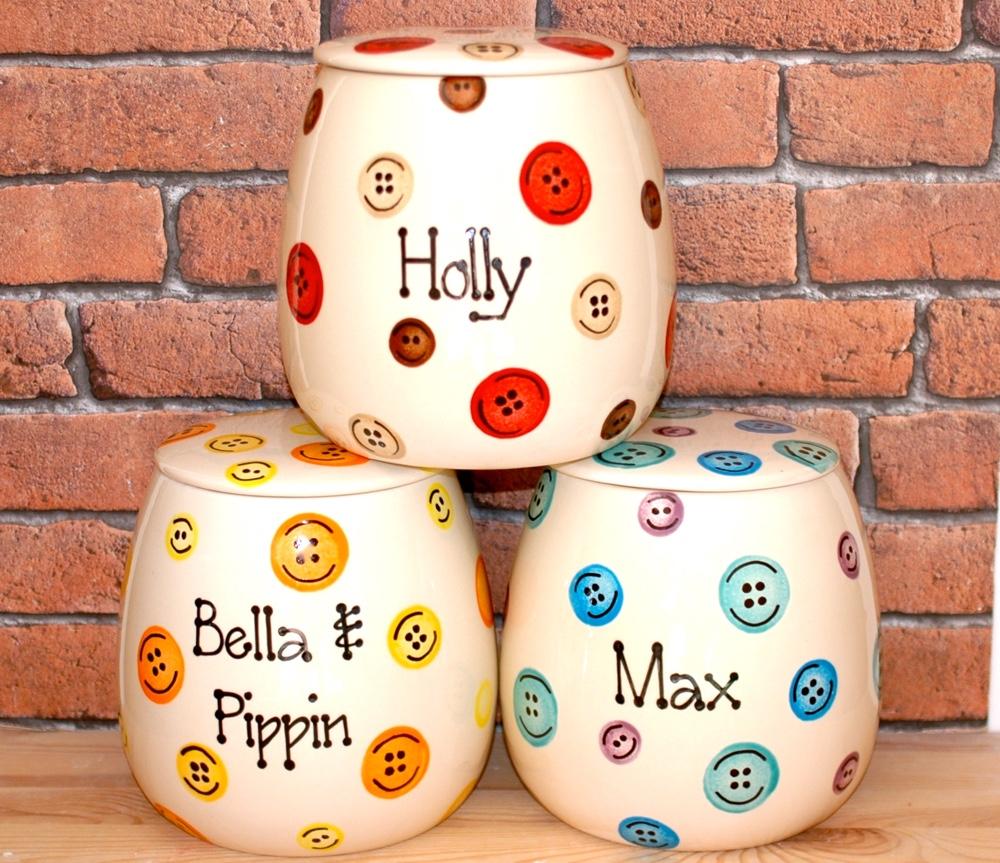 Personalised Ceramic Buttons Cat Treat Jars