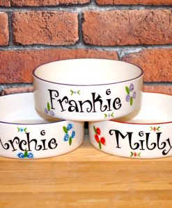 Personalised Ceramic Roses Cat Bowls