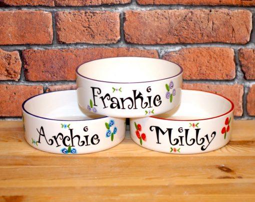 Personalised Ceramic Roses Cat Bowls