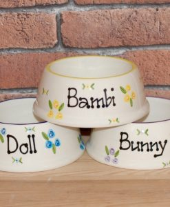 Personalised Ceramic Slanted Roses Cat Bowls