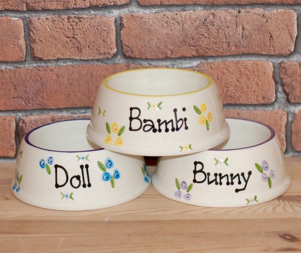 Personalised Ceramic Slanted Roses Cat Bowls