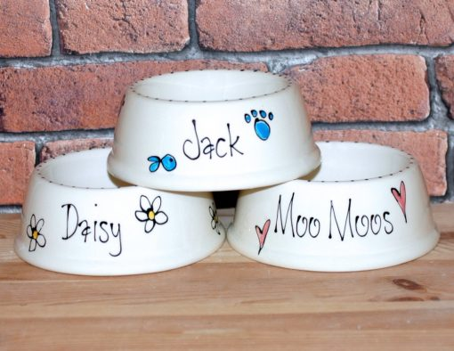 Personalised Ceramic Slanted Whimsical Cat Bowls