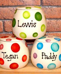 Personalised Ceramic Spotty Cat Treat Jars