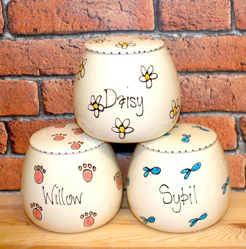 Personalised Ceramic Whimsical Cat Treat Jars
