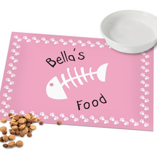 Personalised Pink Fish Bone Cat Placemat