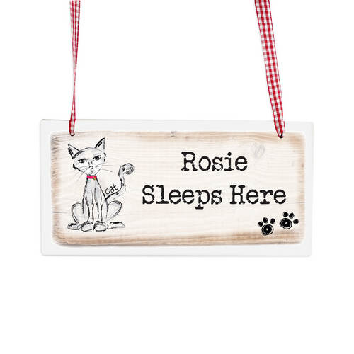 Personalised Scribble Cat Wooden Sign