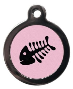 Pink Fish Bone Cat ID Tag