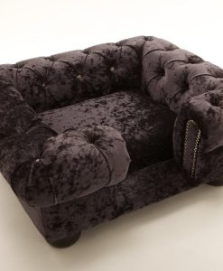 Balmoral Cat Chesterfield Ebony Crushed Velvet