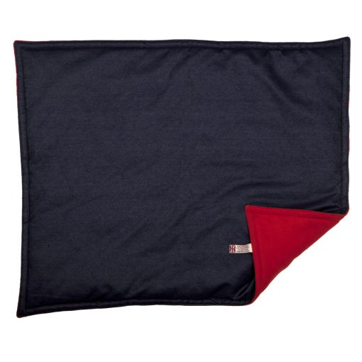 Denim with Red Fleece Padded Cat Blanket by Creature Clothes