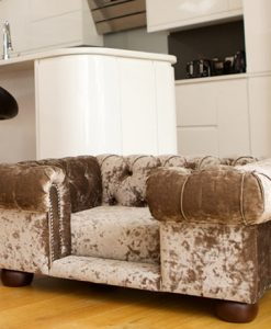 Luxury Truffle Velvet Cat Chesterfield Sofa Bed at Chelsea Cats