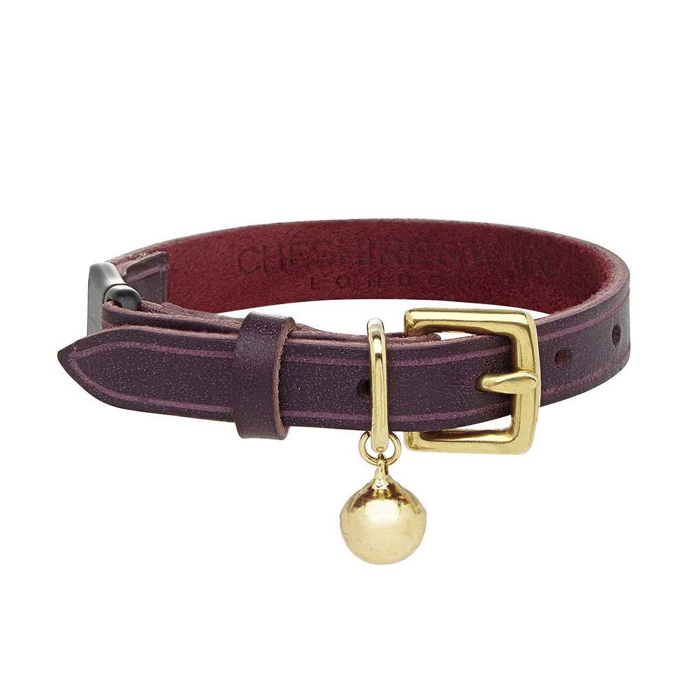 Cheshire and Wain Luxury Bernie Heritage Purple Leather Cat Collar
