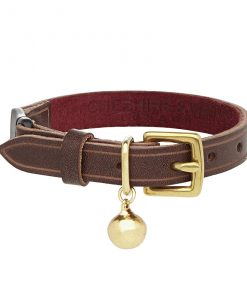 Cheshire and Wain Luxury Cornelious Heritage Brown Leather Cat Collar