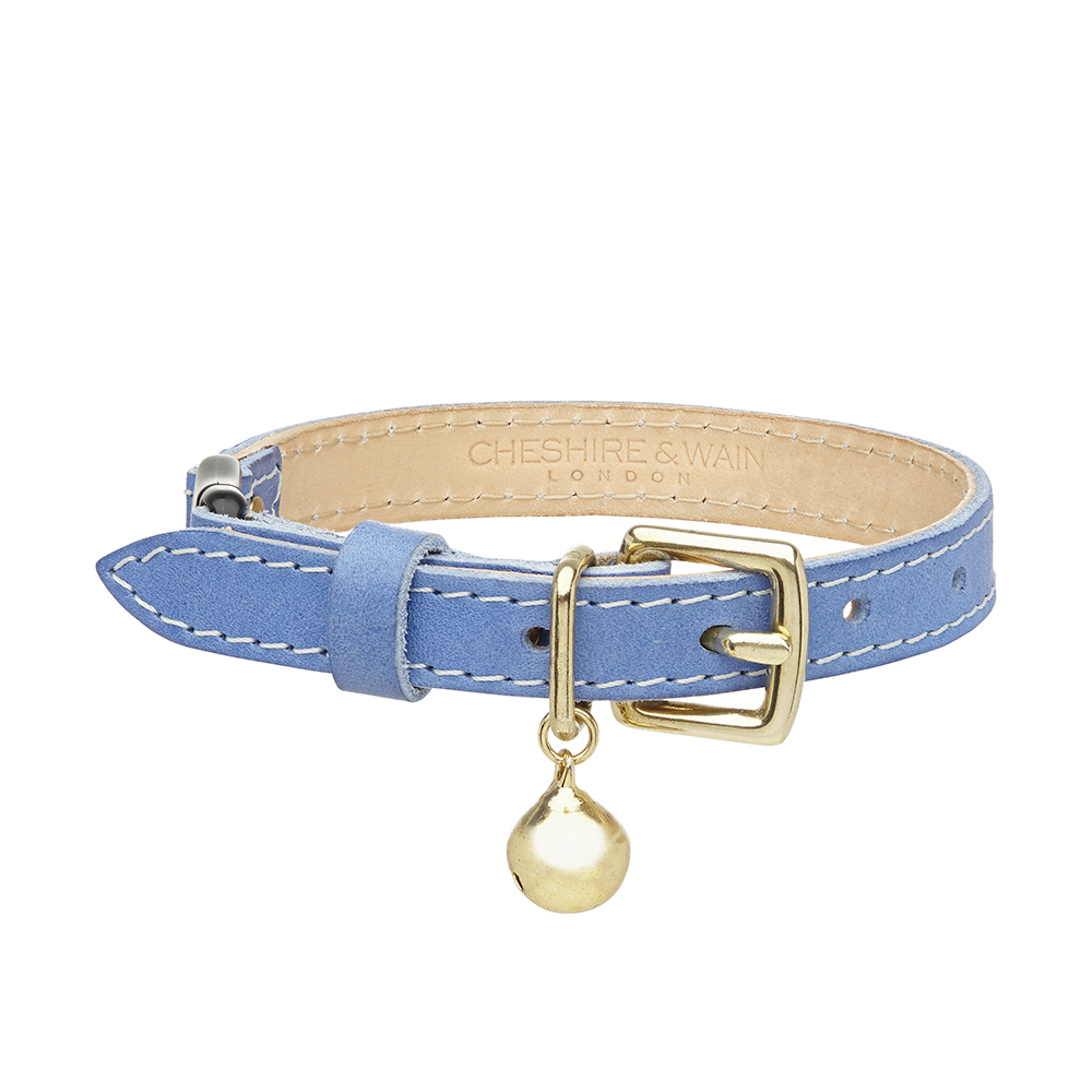 Cheshire and Wain Luxury Blue Leather Cat Collar