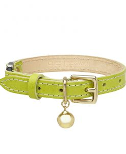 Cheshire and Wain Luxury Green Leather Cat Collar
